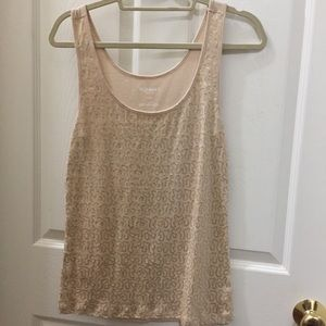 Cream T-shirt with gold sequins